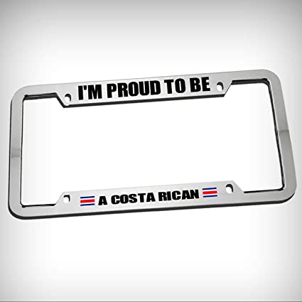 PROUD TO BE COSTA RICAN AMERICAN BLACK License Plate Frame AUTO SUV Tag Border