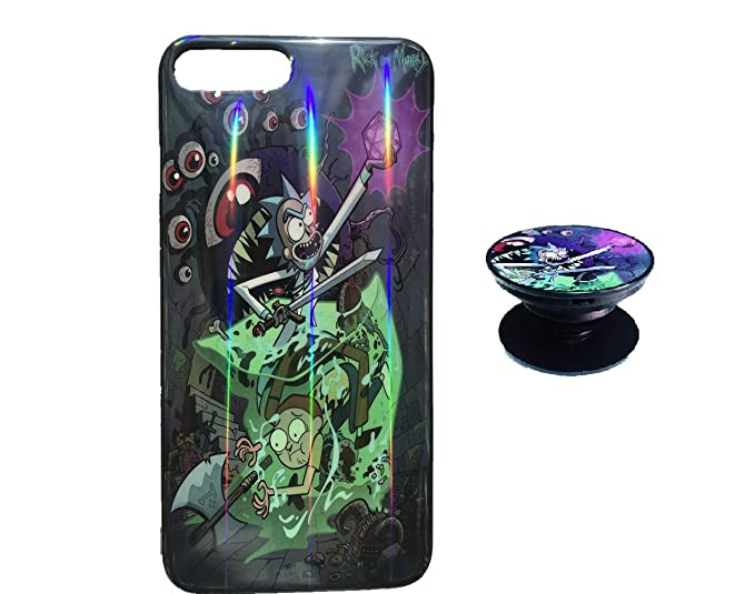the best attitude ead33 8f153 Rick and Morty Case for iPhone 7 8 Protective Case Aurora Color Soft TPU  Compatible iPhone 7 Cover with Phone Holder Bracket