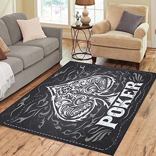 Pinbeam Area Rug Dark Vintage Poker Badge Western Effects Can Be Home Decor Floor Rug 5' x 7' Carpet]()