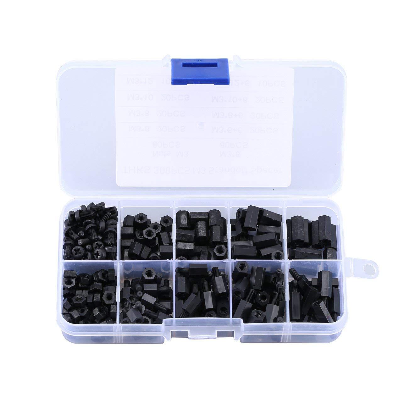300 PCS Noir M3 Nylon Entretoise Espaceurs M/âle Femelle Vis Hex Vis /Écrous Kits De R/éparation pour Electronics Carte M/ère Fixe