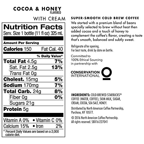 Starbucks Cold Brew Coffee, Cocoa & Honey with Cream, 11 oz Glass Bottles, 6 Count