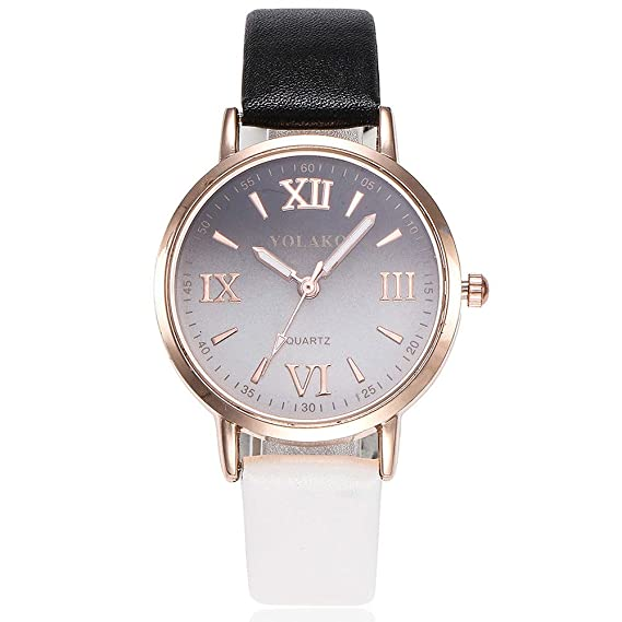 Womens Watch, Iuhan Womens Girls Casual Quartz Leather Band Gradient Watch Analog Wrist Watch Wristwatches