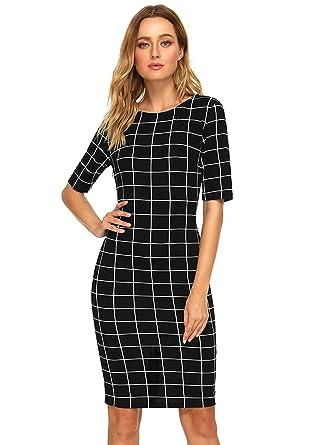 0bc4147b3 SHEIN Women s Short Sleeve Elegant Sheath Pencil Dress X-Small Black Plaid