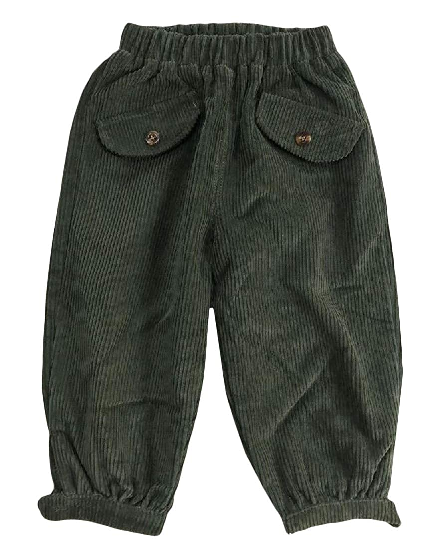 Lutratocro Boys and Girls Cotton Pull On Pure Colour Comfort Corduroy Jogger Pants