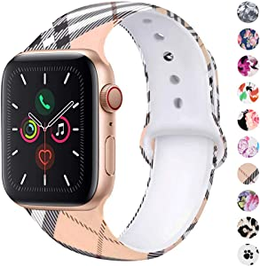 BLOTOW Sport Watch Bands, Compatible with Apple Watch Straps 38mm 42mm 40mm 44mm Soft Silicone Pattern Printed Replacement Bands for IWatch Series 6/5/4/3/2/1 SE