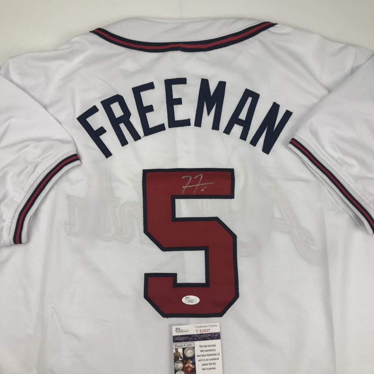 Autographed/Signed Freddie Freeman Atlanta White Baseball Jersey JSA COA