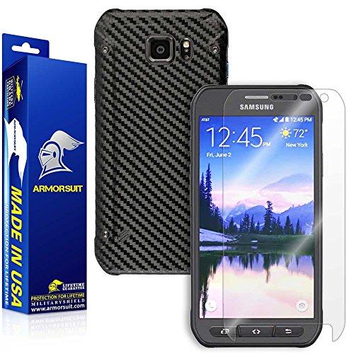 425 Carbon Fiber - Armorsuit MilitaryShield Black Carbon Fiber Skin Wrap Film + HD Clear Screen Protector for Samsung Galaxy S6 Active - Anti-Bubble Film