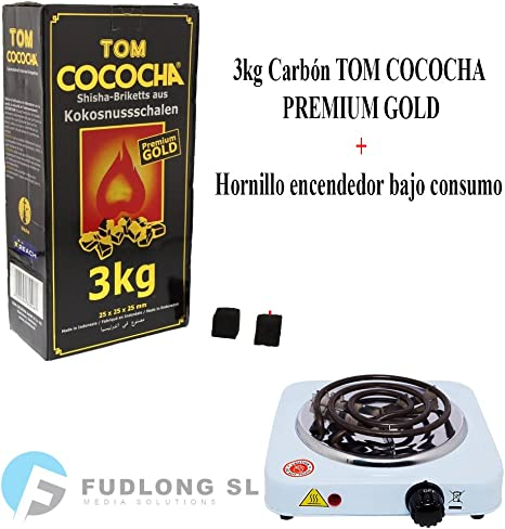 Pack] 3kg CARBÓN para cachimba TOM COCOCHA Premium Gold, HORNILLO ...