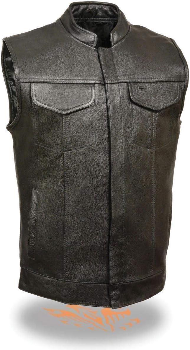 Milwaukee Leather SH2036 Men's Black 'Club' Open Neck Leather Vest - 8X-Large