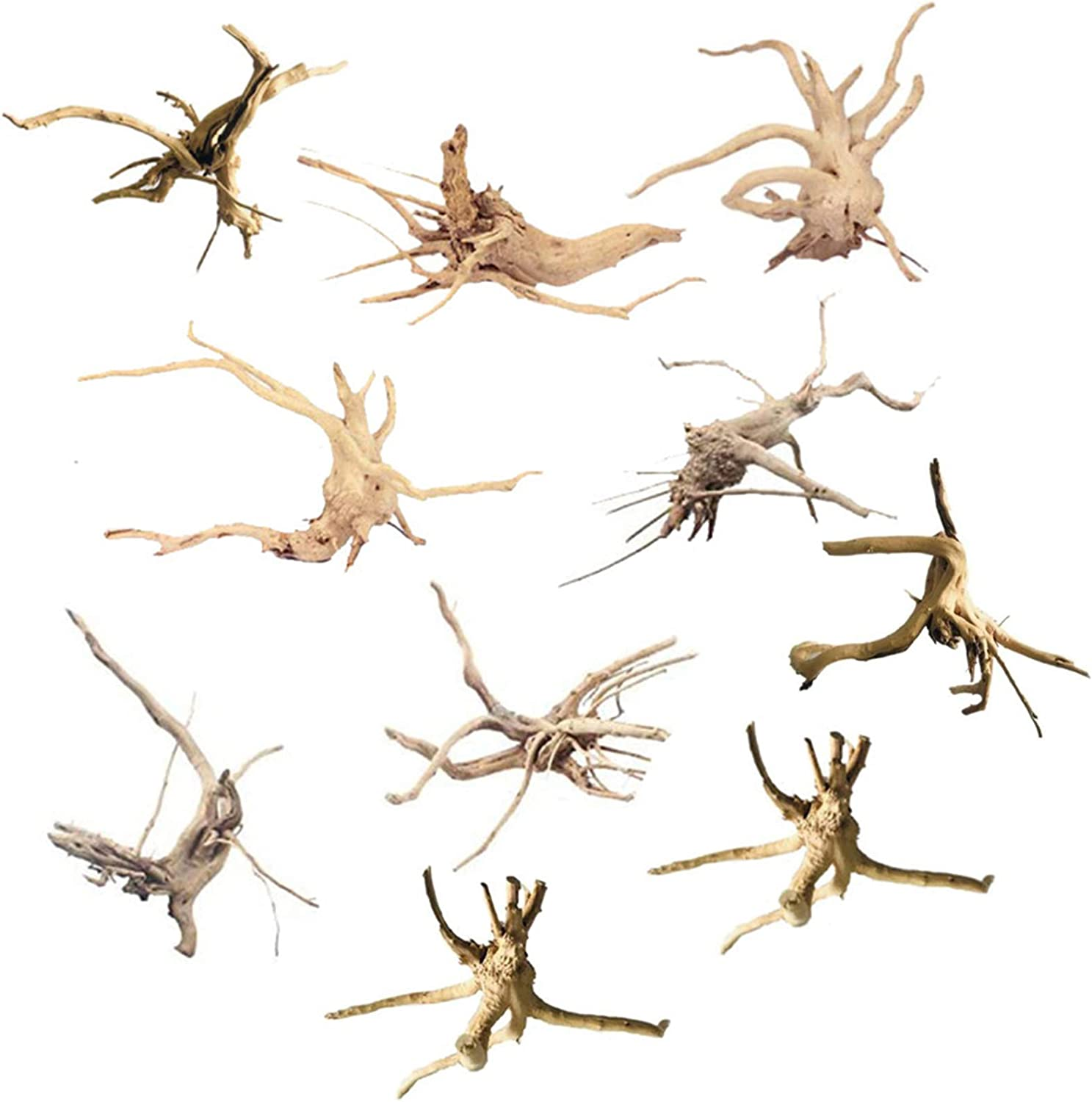 10 Pack kathson Mini Driftwood for Aquarium Natural Wood Branches Fish Tank Decorations Reptiles Tree Trunk Driftwood Assorted
