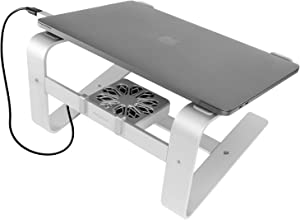 "Macally Laptop Stand with Cooling Fan for Desk | Sturdy Aluminum Frame with Apple Finish | Quiet Cooler Fan | Fits All Notebooks from 10"" - 17.3"" - Macbook 12 13 15 Pro Air, Chromebook, Acer, HP, Dell"