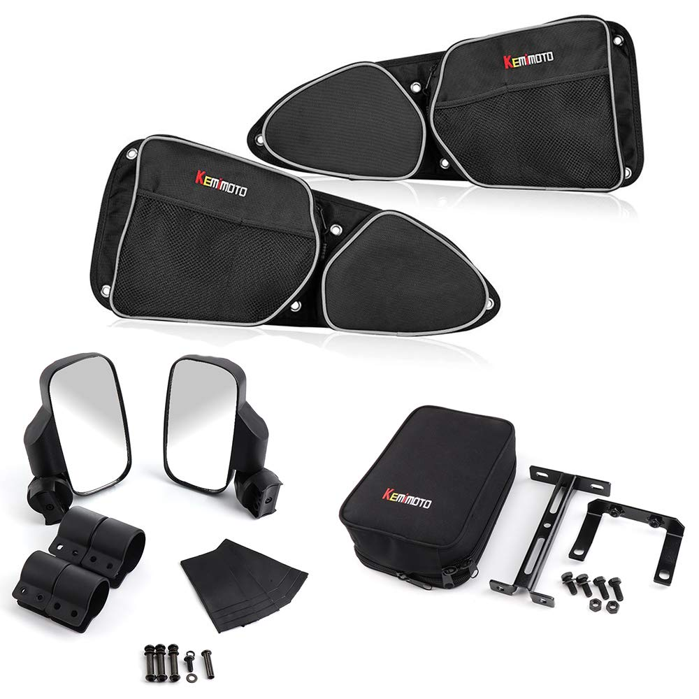 KEMIMOTO Door Bags N Armrest and Rear View Side Mirrors for Polaris RZR XP/XP4 1000 /Turbo / 900XC S900