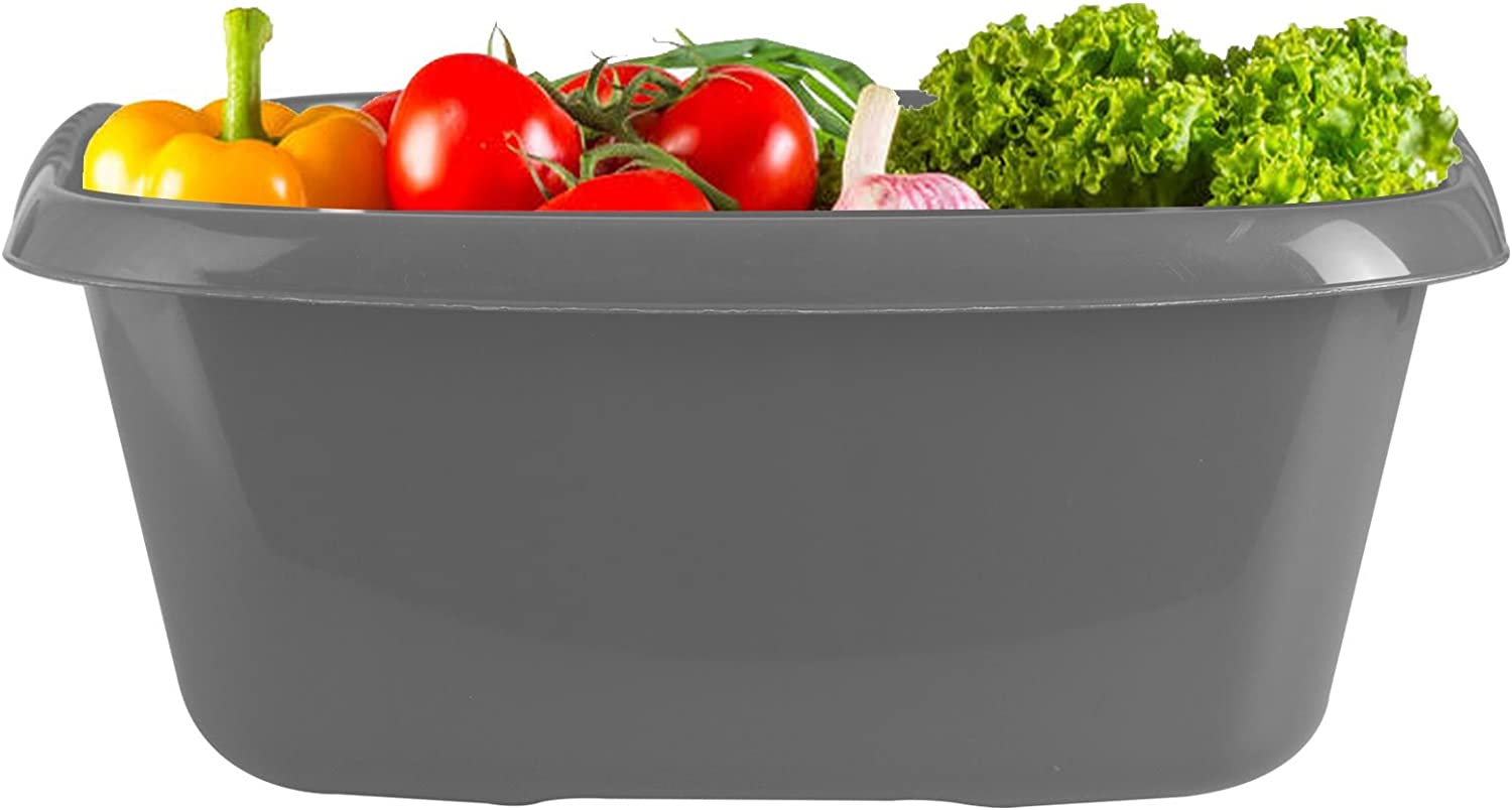 Silver ASAB 38cm Rectangle Washing Up Bowl Sink Basin Medium Mixing High Grade Plastic With Raised Feet To Aid In Drainage Ideal Wash Up Bowl For Camping