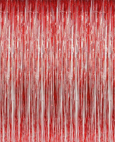 2 Pack 3 ft x 8 ft Metallic Red Foil Fringe For Door, Window, Curtain, Wall Decoration - Party, Prom, Wedding, Birthday, Event Decorations -