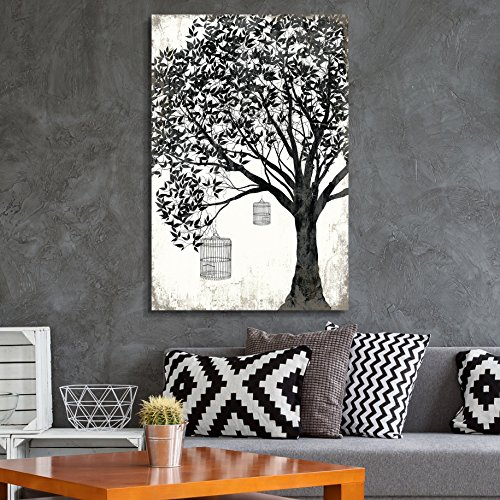 Cage Wall Art (wall26 Canvas Wall Art - Abstract Black Tree on Rustic Background with Bird Cages - Giclee Print Gallery Wrap Modern Home Decor Ready to Hang - 24x36 inches)