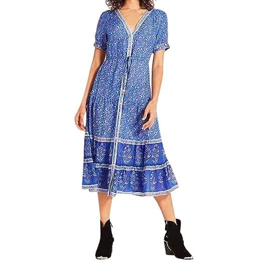 b9806c0ace7 TANLANG Women s Summer Short Sleeve Damask Print Pocket Loose T-Shirt Loose  Plain Maxi Dresses