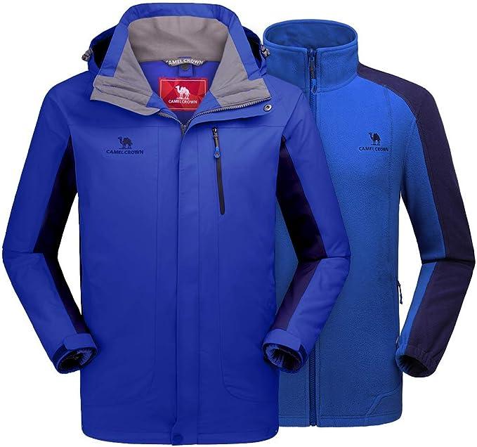 CAMEL CROWN Herren Outdoor 3 in 1 Skijacke mit Fleece Jacke, Wasserdicht Winddicht Warm Atmungsaktiv Winterjacke mit Kapuze Abnehmbare und Taschen,