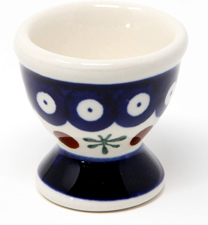 Boleslawiec Polish Pottery Blue White Soft Egg Cup Dish Plate Holder