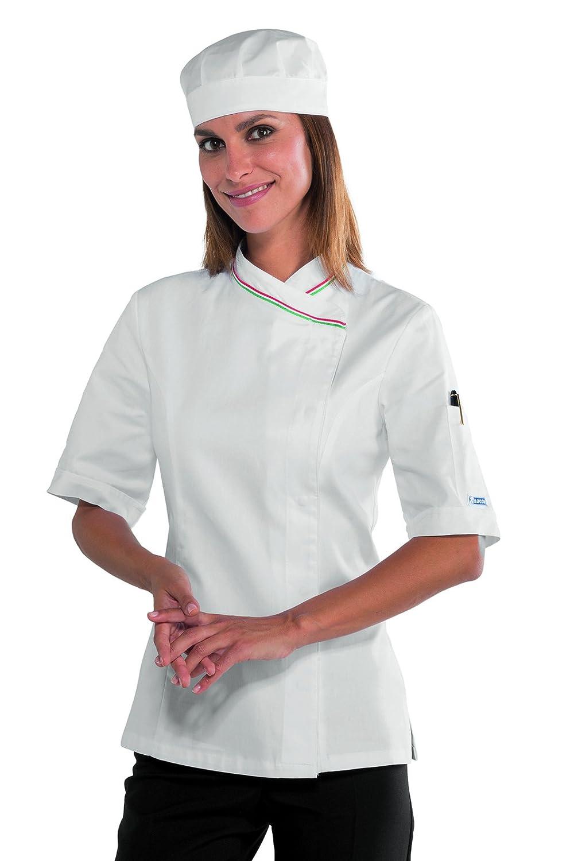 100/% Cotone Satin S Manica Lunga Isacco Giacca Lady Chef Bianco Bianco 180 gr//m/²