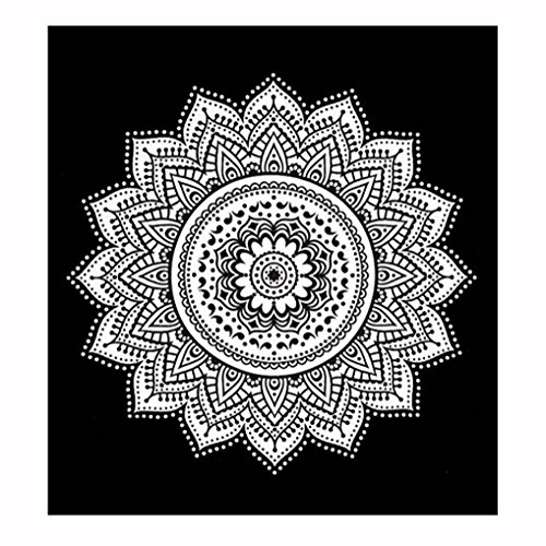 Auwer Gorgeous Lotus Pattern Beach Cover-Up Throw Tapestry Wall Art Hanging Pool Home Shower Towel Blanket Mandala Table Cloth Tablecover Yoga Mat Picnic Mat Bedspread Collage Dorm Square (A) by Auwer