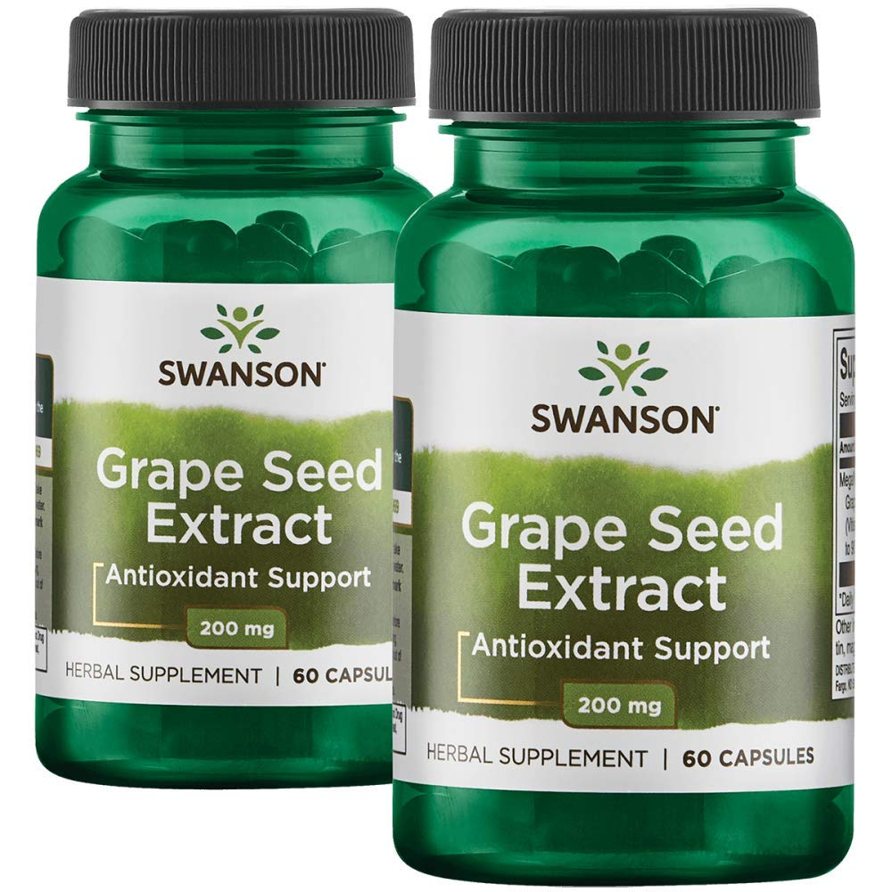 Swanson Grape Seed Extract (Standardized) 200 Milligrams 120 Capsules 2 Bottles
