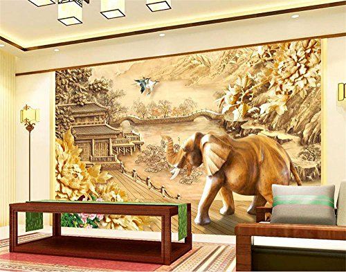 Mural Elephant Wood (Yosot 3D Wallpaper Photo Wallpaper Custom Living Room Mural Woods Elephant Flower 3D Painting Sofa Tv Background Wallpaper for Wall 3D-300Cmx210Cm)