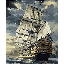 CaptainCrafts New Paint by Number Kits - Boats Sailboat Warships 16x20 inch Frameless - Diy Painting by Numbers for Adults Beginner Kids