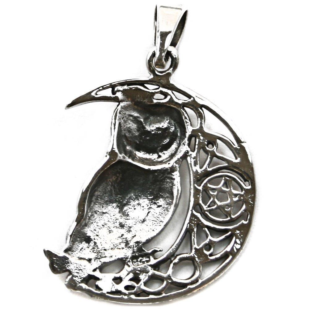 Solid Sterling Silver Wise Moon Owl Celtic Pentagram Wicca Pendant (P068) cnWAjMt