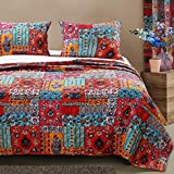 Finely Stitched Bohemian Bedding Boho Chic Quilt Set Comforter Hippie Mandala Bedspread Lightweight Reversible Washable 3 Piece with Shams Single Twin Size, Red Blue - Includes Bed Sheet Straps