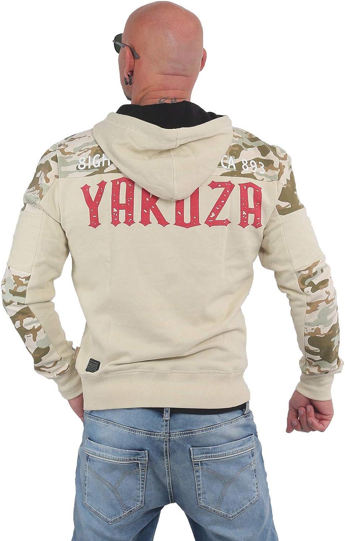 Yakuza Herren Warning Two Face Hoodie Kapuzenpullover Bone White