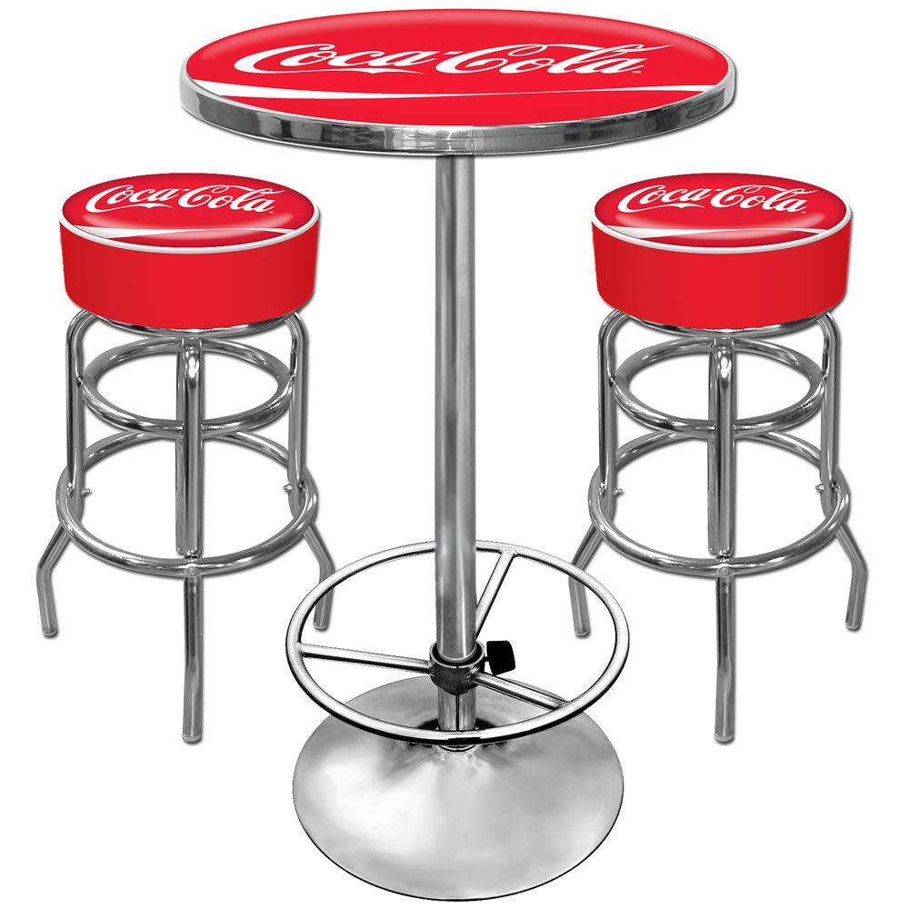 amazoncom cocacola ultimate gameroom combo 2 bar stools u0026 pub table sports u0026 outdoors