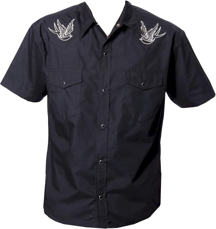 BeRetro Men's Western Rockabilly Shirt Sparrow - Retro Cowboy Short-Sleeve Black, Mechanic Work Shirt