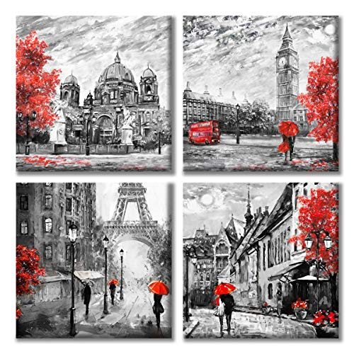 Paimuni Black White Red Contemporary Wall Art Big Ben Eiffel Tower Berlin Street Oil Painting Printed on Canvas Romantic Picture Framed Artwork Prints for Wall Decor 12x12 Inches