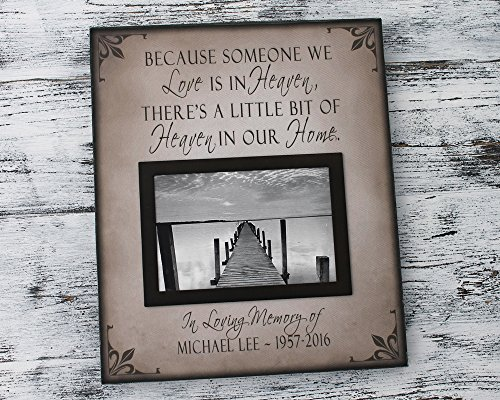ne picture frame, personalized memorial gift, sympathy gift, Because someone we love is in heaven (Personalized Magnetic Frames)