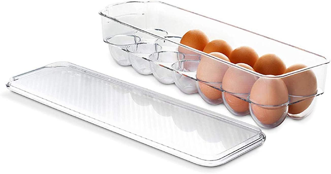 Stackable Refrigerator Egg Storage Bin With Lid, Stores 12 Eggs, BPA Free Plastic Clear