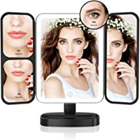 Easehold Led Lighted Vanity Mirror Make Up Tri-Fold with 21Pcs Lights 180 Degree Free Rotation Table Countertop Cosmetic Bathroom Mirror