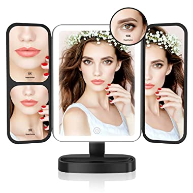 Easehold Led Lighted Vanity Mirror Make Up Tri-Fold with 38Pcs Lights Ultra-Thin 2x/5x/10x Magnifying 180 Degree Free Rotation Table Countertop Cosmetic Bathroom Mirror(Black)