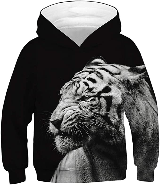 Vovotrade-Baby Clothes Kids Girl Boy 3D Cute Cartoon Tiger Print Hooded Pullover Children Fleece Print Cartoon Hoodie Sweatshirt with Pocket Age for 6-13 Years Old