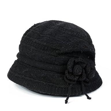 3faf9ffdb63e02 Ladies winter hats/Older short-brimmed hat/Warm knit hat-B: Amazon.co.uk:  Clothing