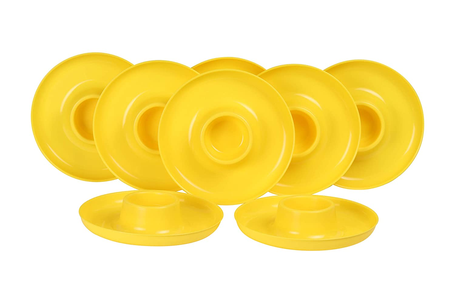 GreatPlate GP-YLO-8PK AZ Yellow Plate 8-Pack, 8 Yellow GreatPlates, Food Tray and Beverage Holder, Dishwasher Safe, Microwave Safe, Made in USA, Picnics, Parties, Tailgates, Appetizers, Great for Kids