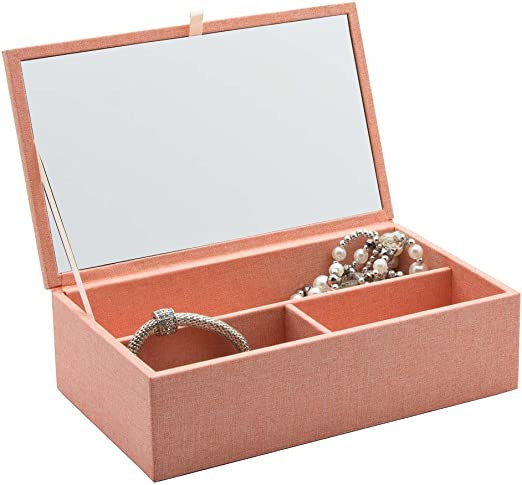 Rosa Classic – Caja con tapa en tela con compartimentos y espejo ...