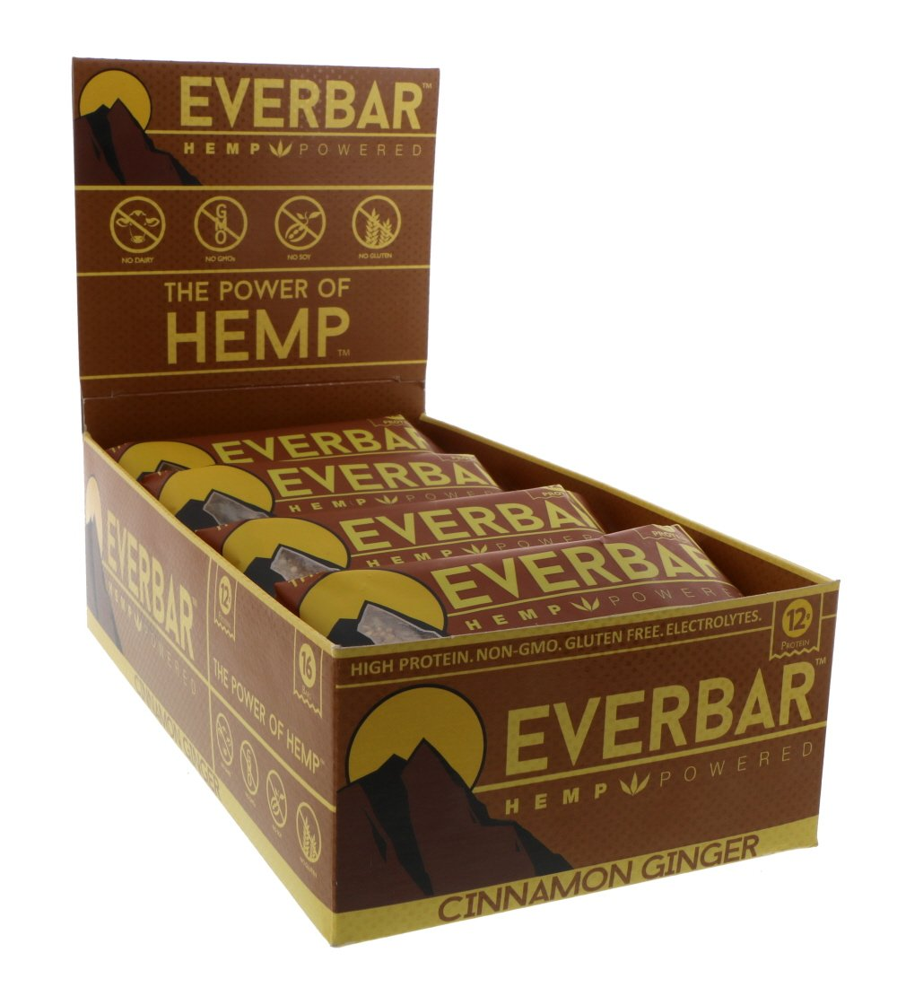 EverBar Protein Bar - Cinnamon Ginger - 16 Bars - ONLY 9 Ingredients - 12g of Protein - Clean Energy Meal Replacement - Gluten-Free, Non-GMO, Dairy Free, Soy Free - Hemp Protein by EverBar
