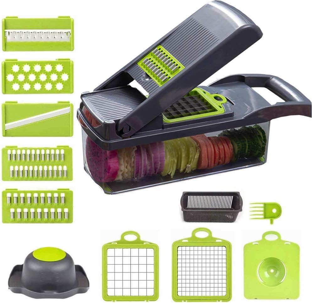 Vegetable Chopper - Hand Onion Dicer Fruits Salad Peeler/Cutter/Spiralizer/Slicer Lemon Squeezer Separator Egg - 10 in 1 Multifunction Food Processor Kitchen Gadgets