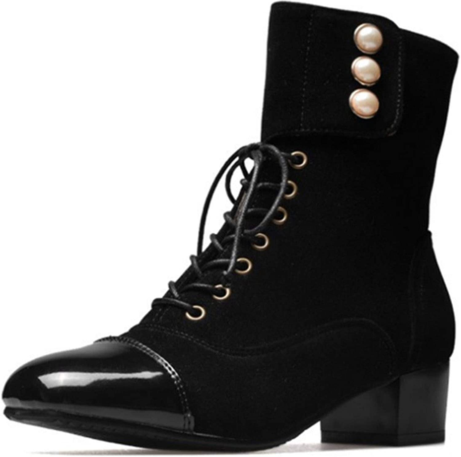 Women Winter Shoes Chunky High Heels Ankle Martin Boots Lace Up Short Boots Plus Size