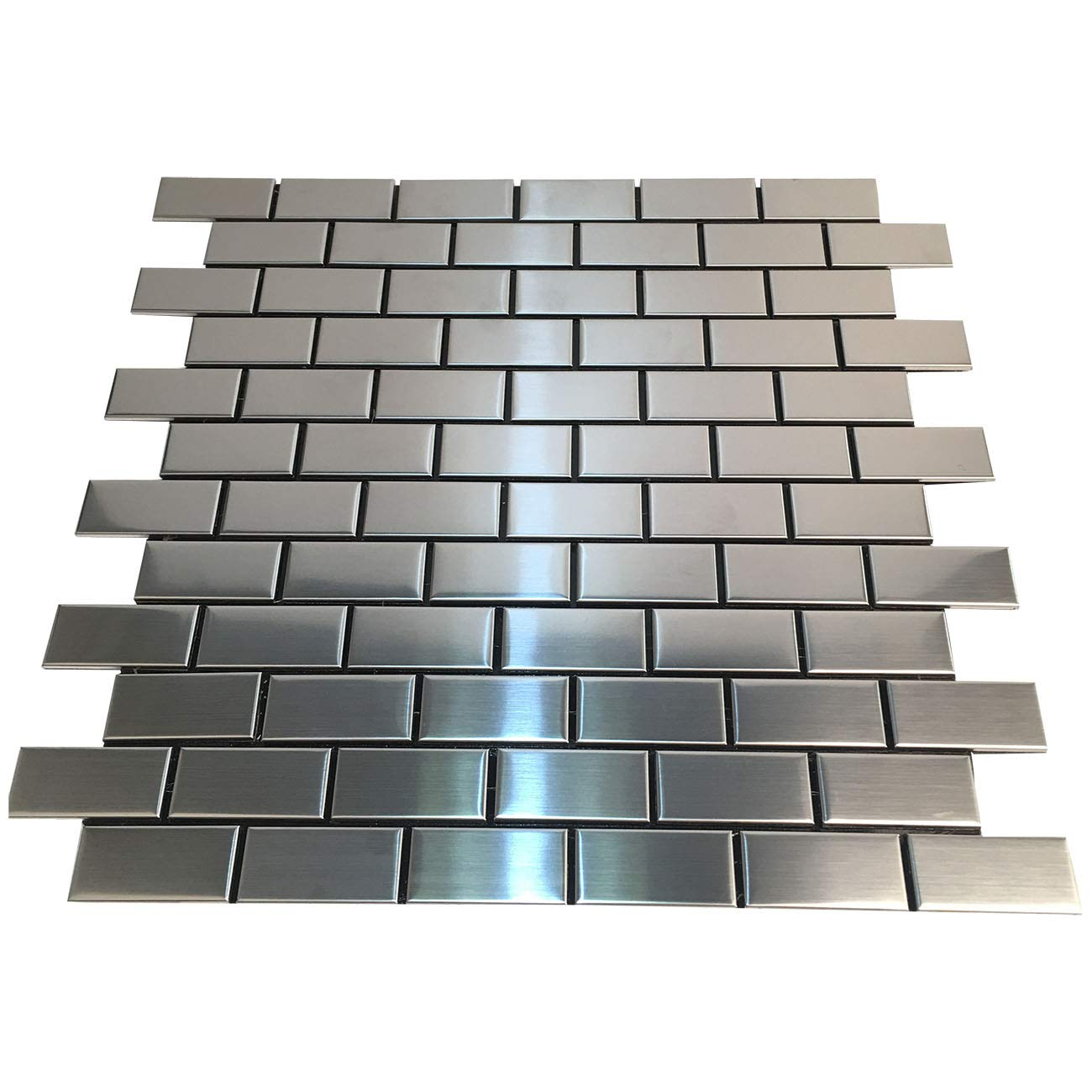 HomeyStyle Subway Stainless Steel Peel and Stick Tile Backsplash for Kitchen Bathroom Stove Self-Adhesive Metal Mosaic Tiles Wall Decor Sticker,5 Tiles x 12''x12'' by HomeyStyle (Image #2)