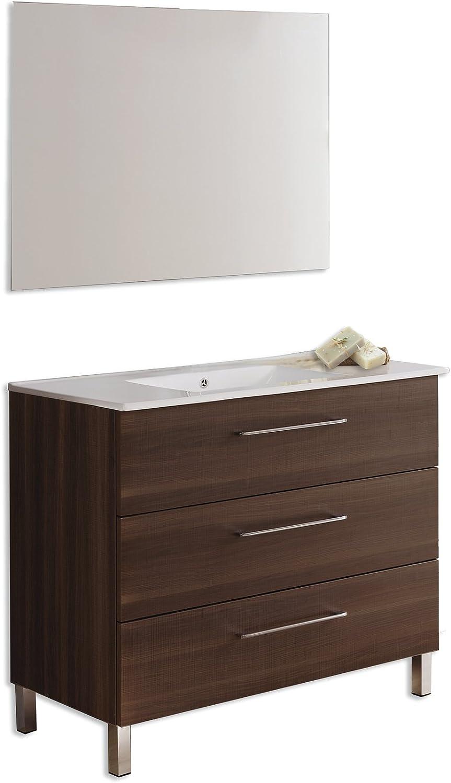 Platos de ducha y mamparas Conjunto Kayla_PdM_ Mueble + encimera cerámica + Espejo Liso (Roble Sinatra, 70cm): Amazon.es: Hogar