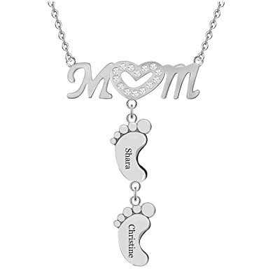 Pezebel Personalized Custom Mom Heart Symbol Necklace and Baby Feet Silver: Jewelry