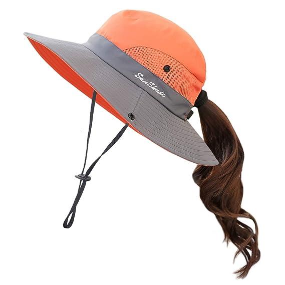 c3d06f75b8df4e Muryobao Women Ponytail Summer Sun Hat Wide Brim UV Hats Floppy Bucket Cap  for Safari Beach Fishing Gardening Orange at Amazon Women's Clothing store: