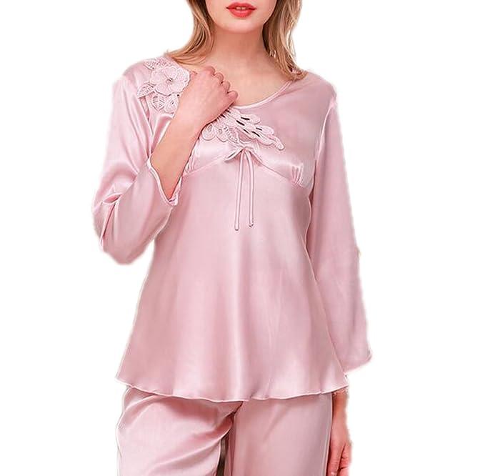 QPALZM Conjunto De Pijama De Lujo De Lujo Para Mujer - Ropa De Dormir,LightPink