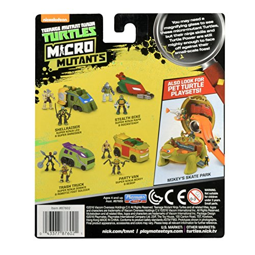 "Teenage Mutant Ninja Turtles Micro Mutant Stealth Cycle with 1.15"" Scale Super Ninja Raphael and Rocksteady Figures and Vehicle"